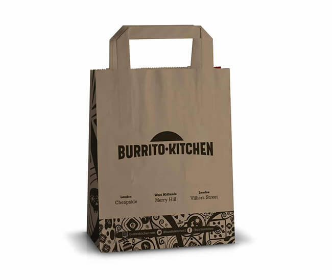 Burrito Kitchen Paper Carrier Bag