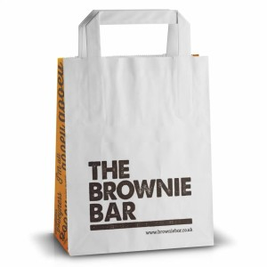 Printed flat handle paper takeaway bags