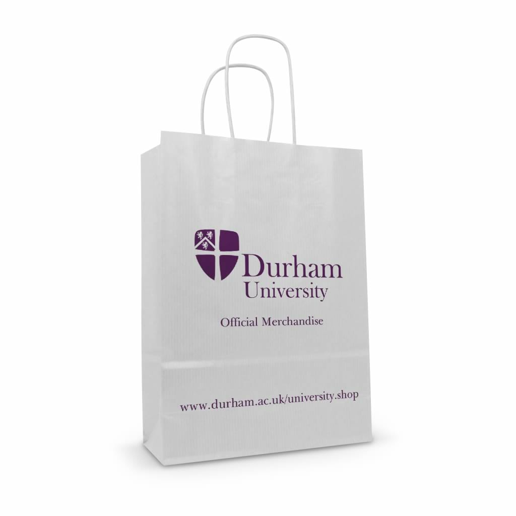 Durham University white kraft printed paper twisted handle bag