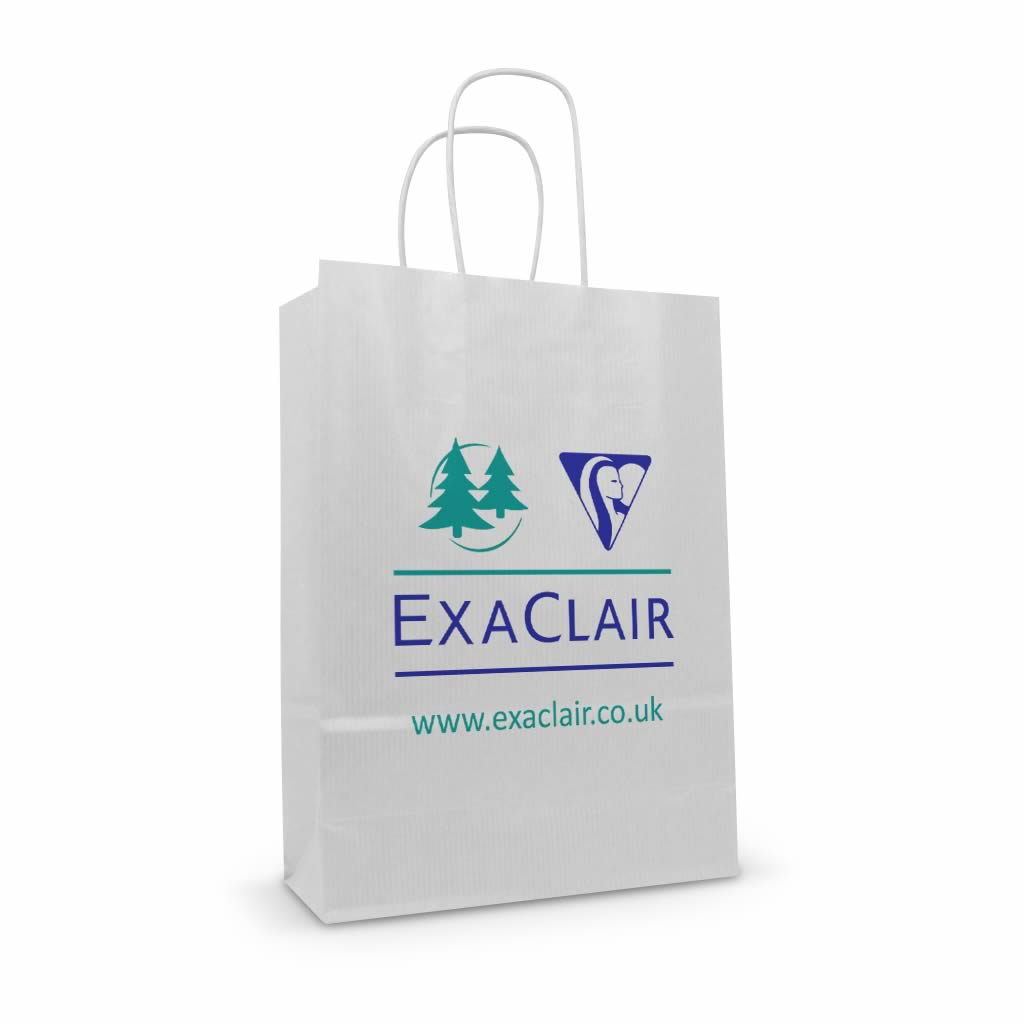 Exa clair white kraft printed paper twisted handle bag