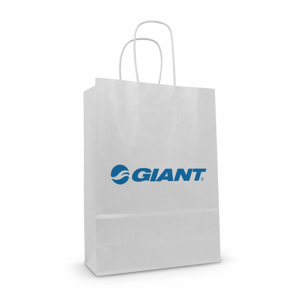 Giant white kraft printed paper twisted handle bag