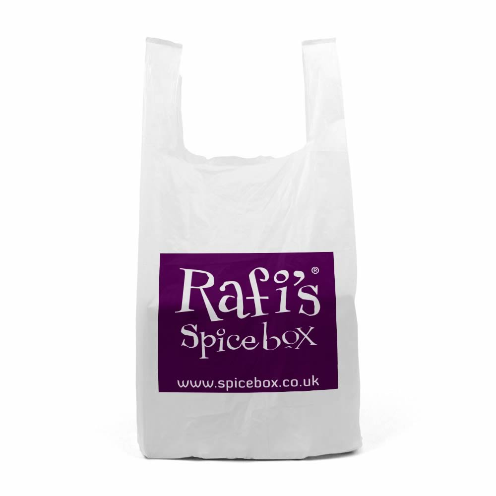 Printed plastic vest carrier bags | Rafi's