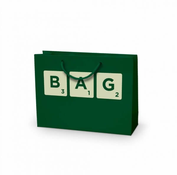 Scrabble printed laminated paper bag