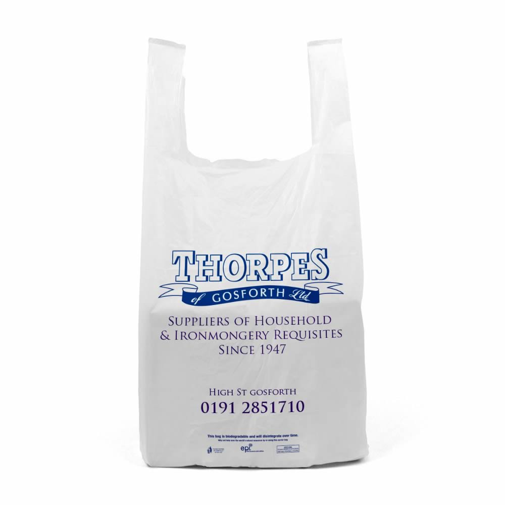 Printed plastic vest carrier bags | Thorpes