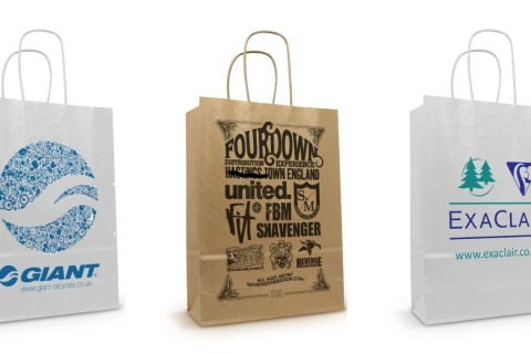 Twisted handle printed paper bags