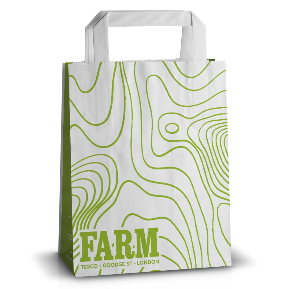Farm printed flat handle paper bag