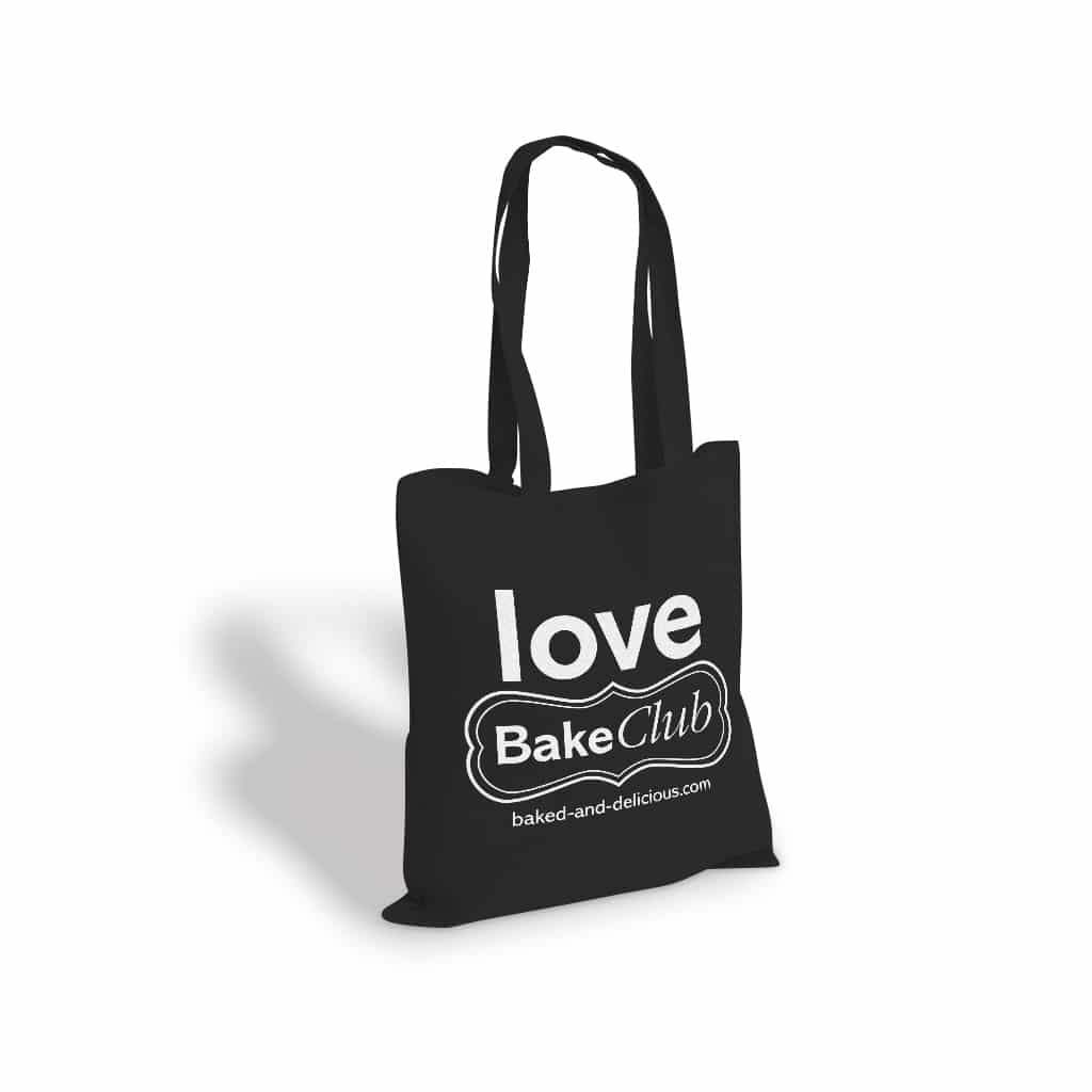 Bake Club printed twisted handle bag