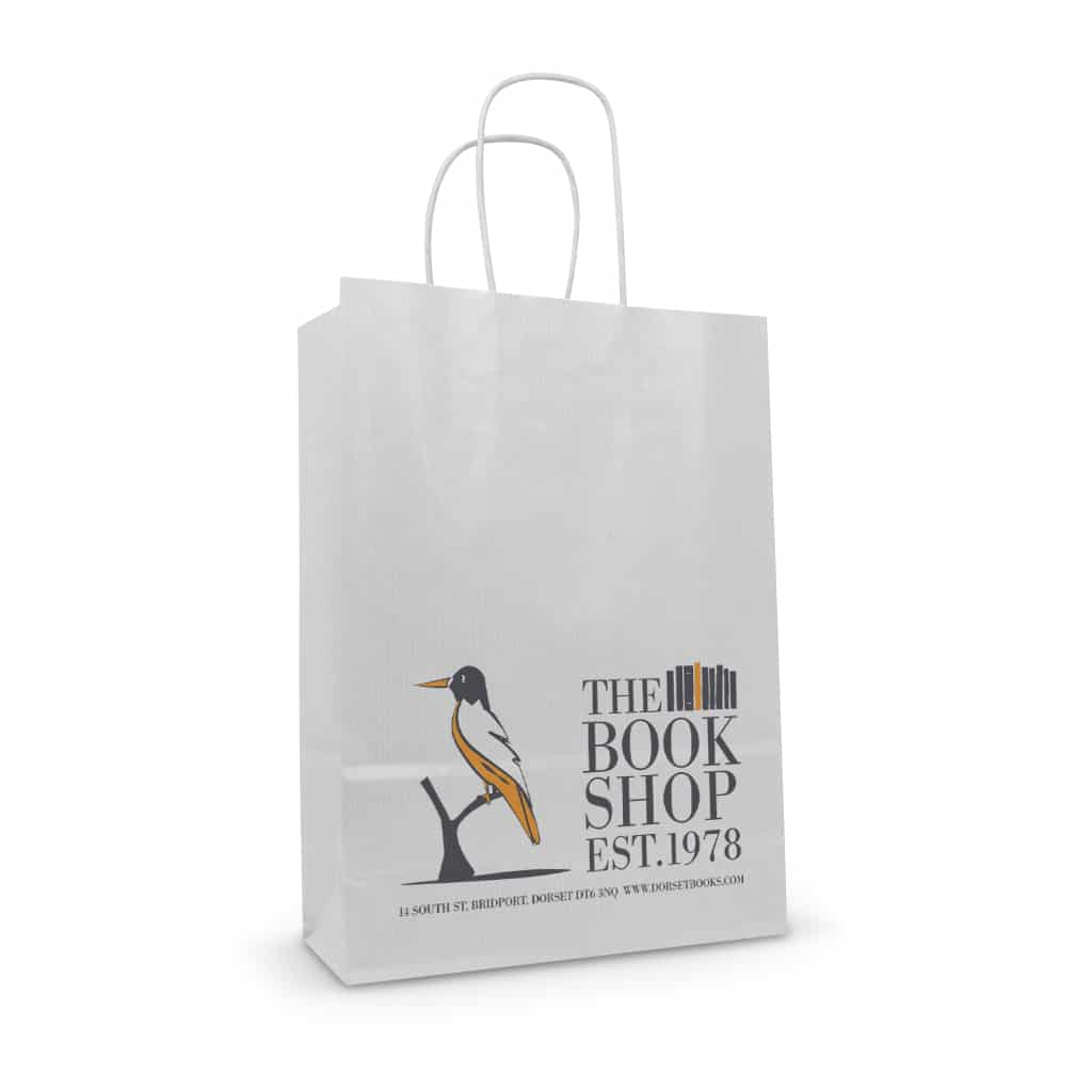 The Book Shop white kraft printed paper twisted handle bag