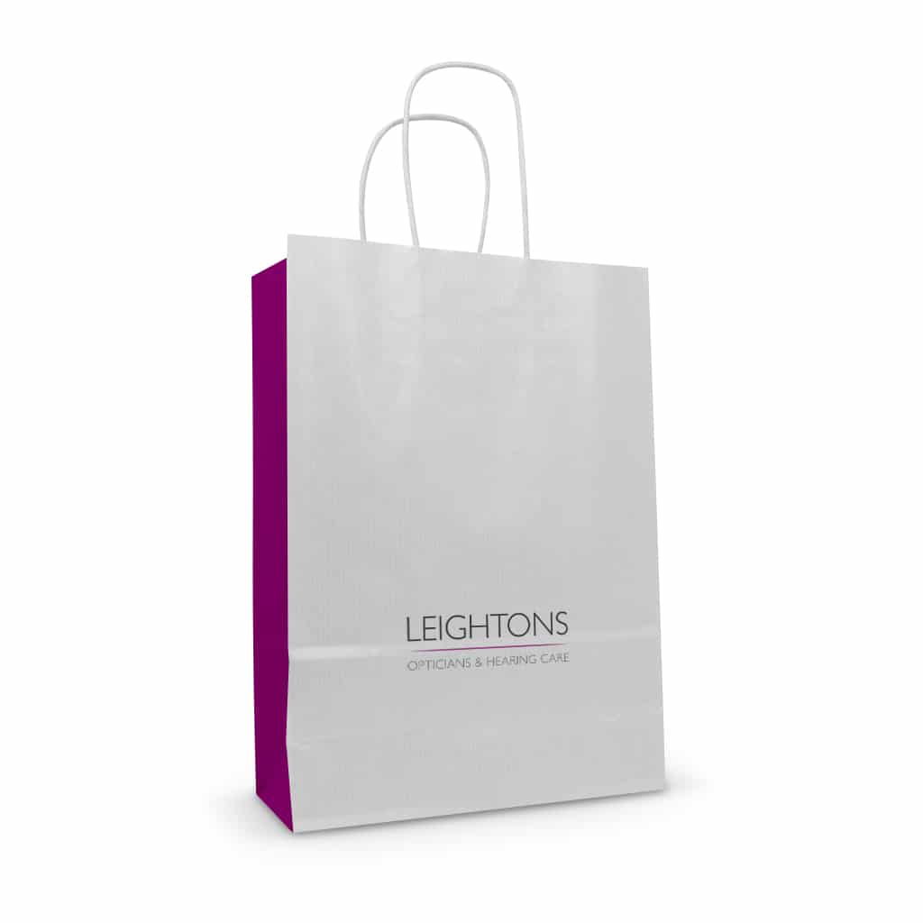 Leightons white kraft printed paper twisted handle bag