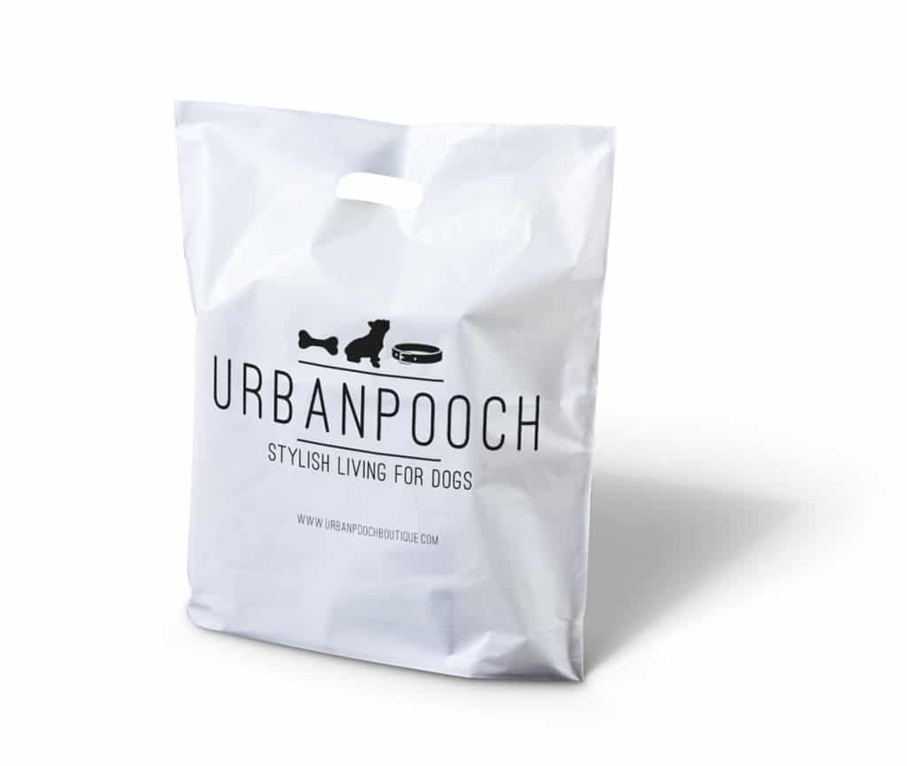 Urban Pooch printed punched handle plastic bag