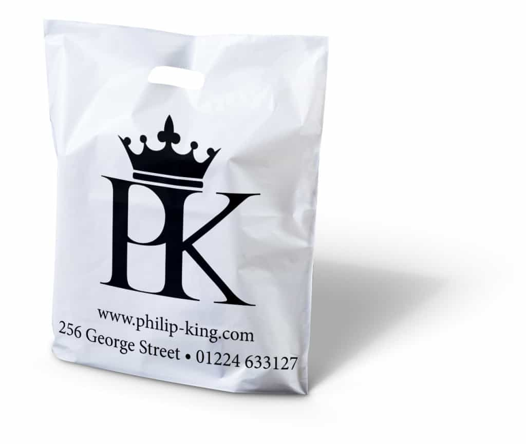 Philip King printed punched handle plastic bag