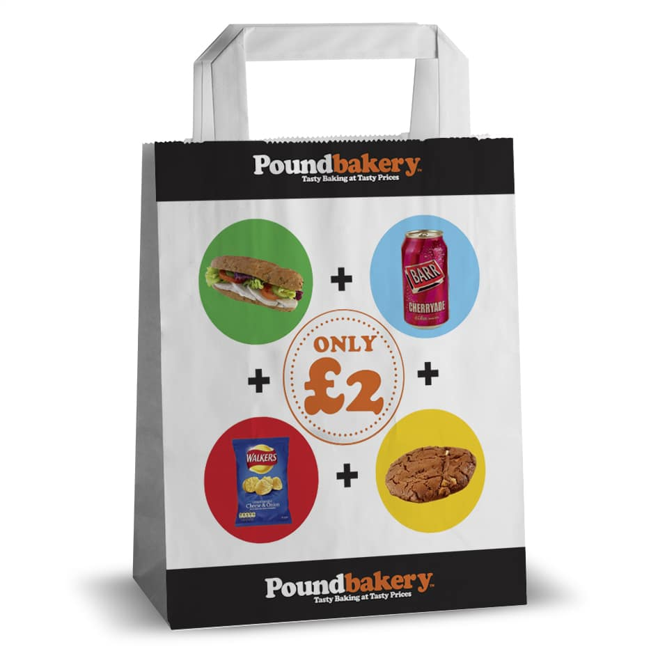 Pound bakery offer printed flat handle paper bag