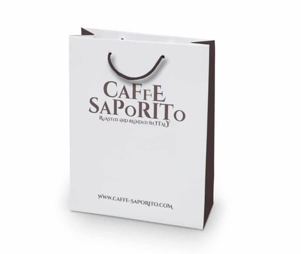 Cafe Saporito custom printed laminated paper bag