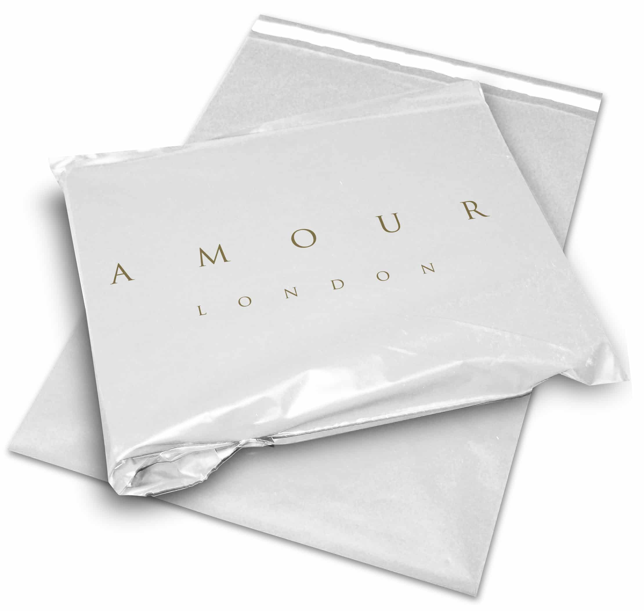 Amour London printed mailing and postal bag