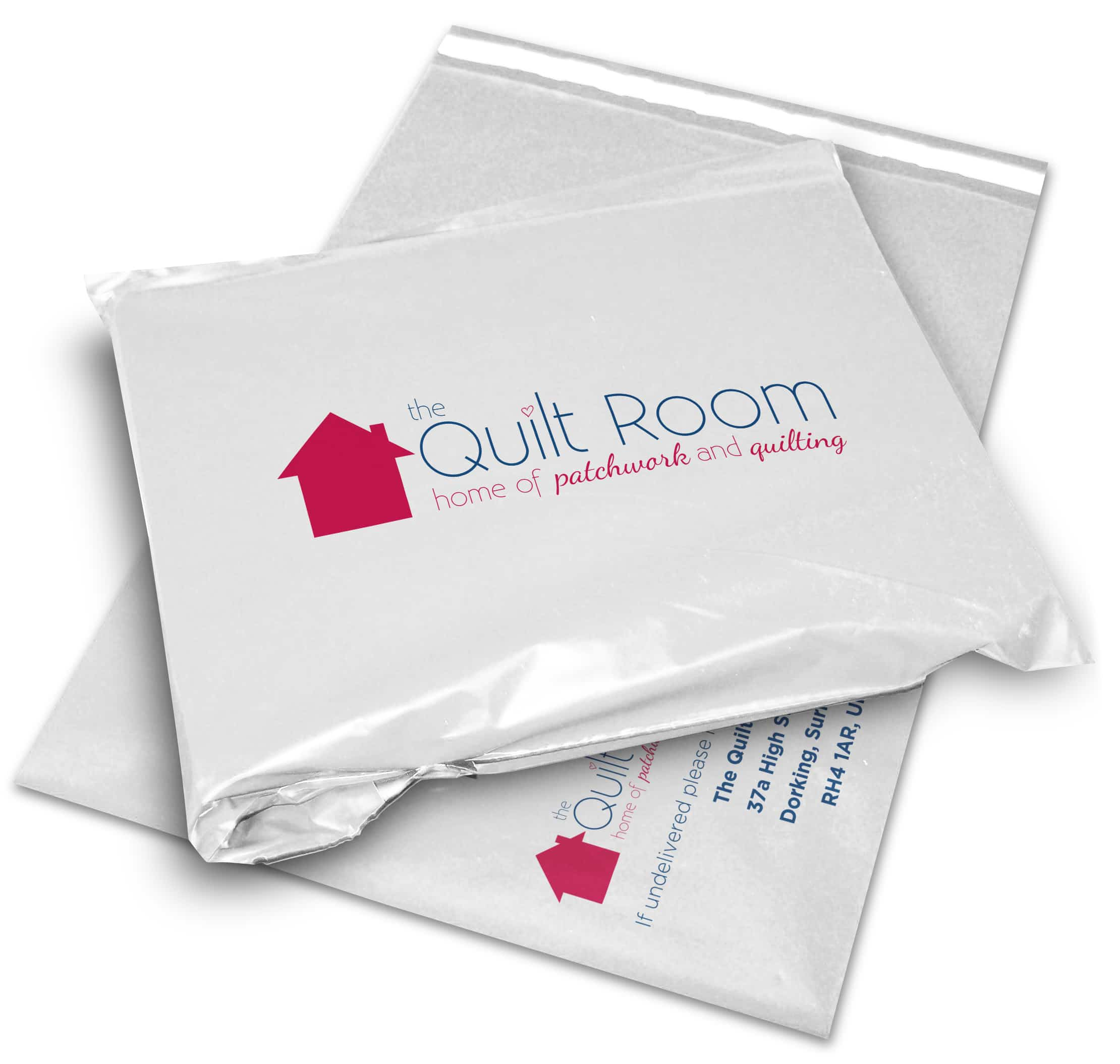 The Quilt Room printed mailing and postal bag