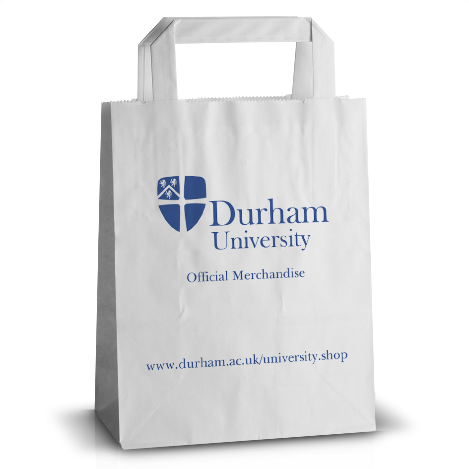 Durham University printed flat handle paper bag
