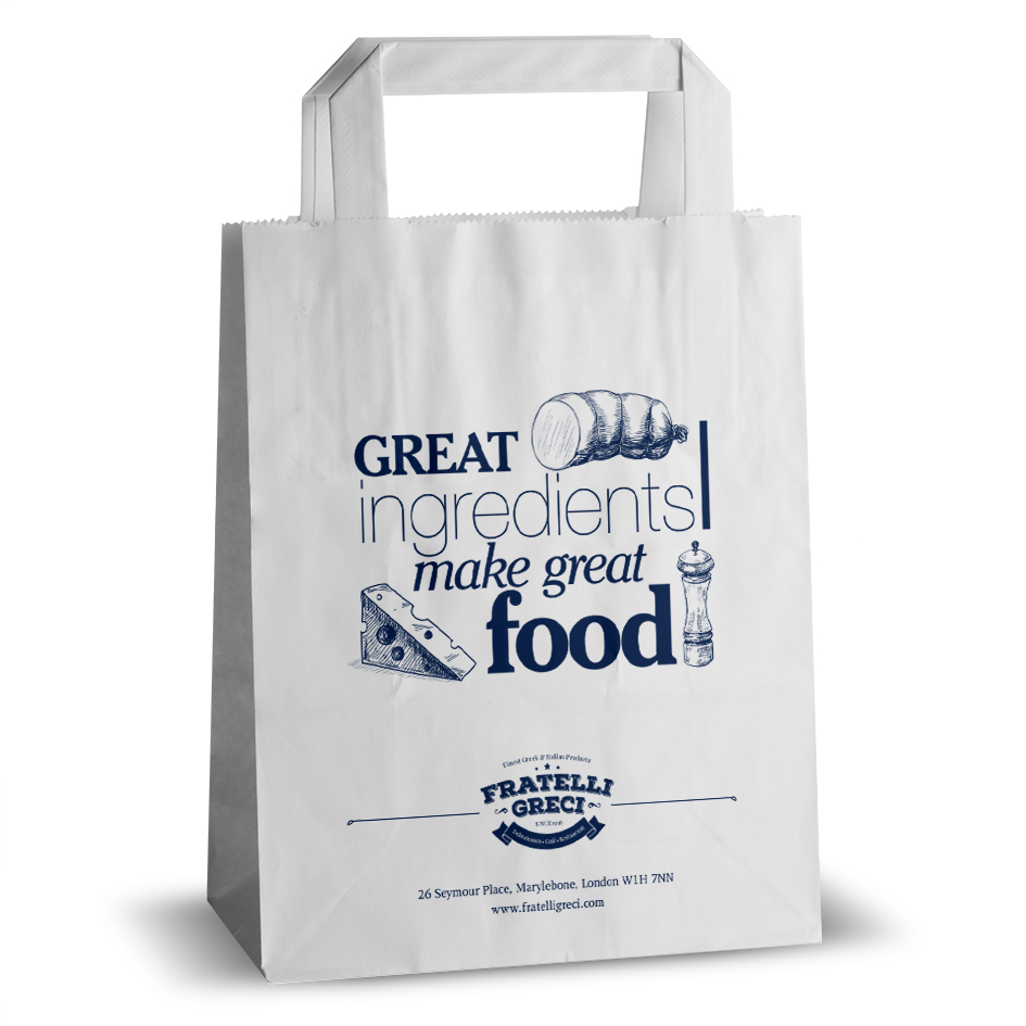 Fratelli Greci food printed flat handle paper bag