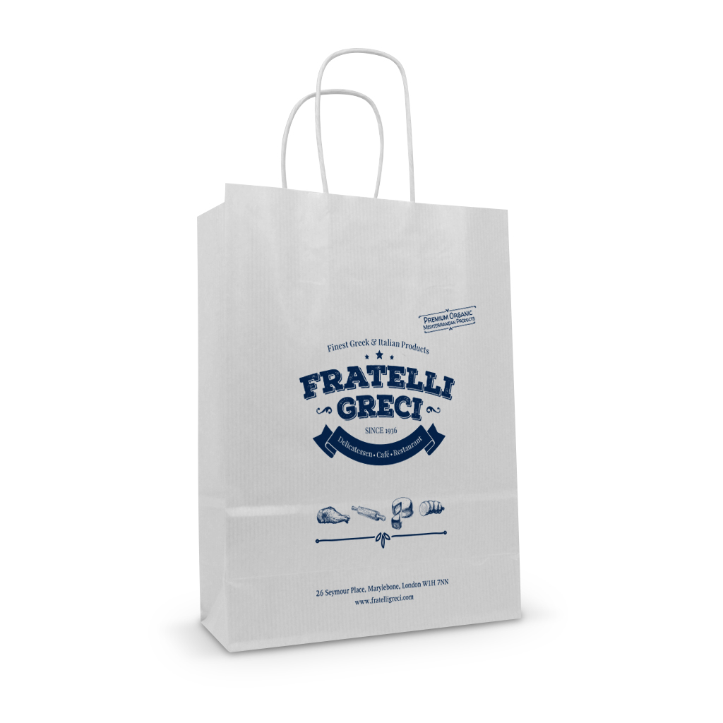 Fratelli greci white kraft printed paper twisted handle bag