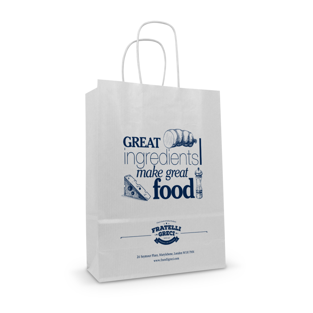 Fratelli greci white kraft food printed paper twisted handle bag