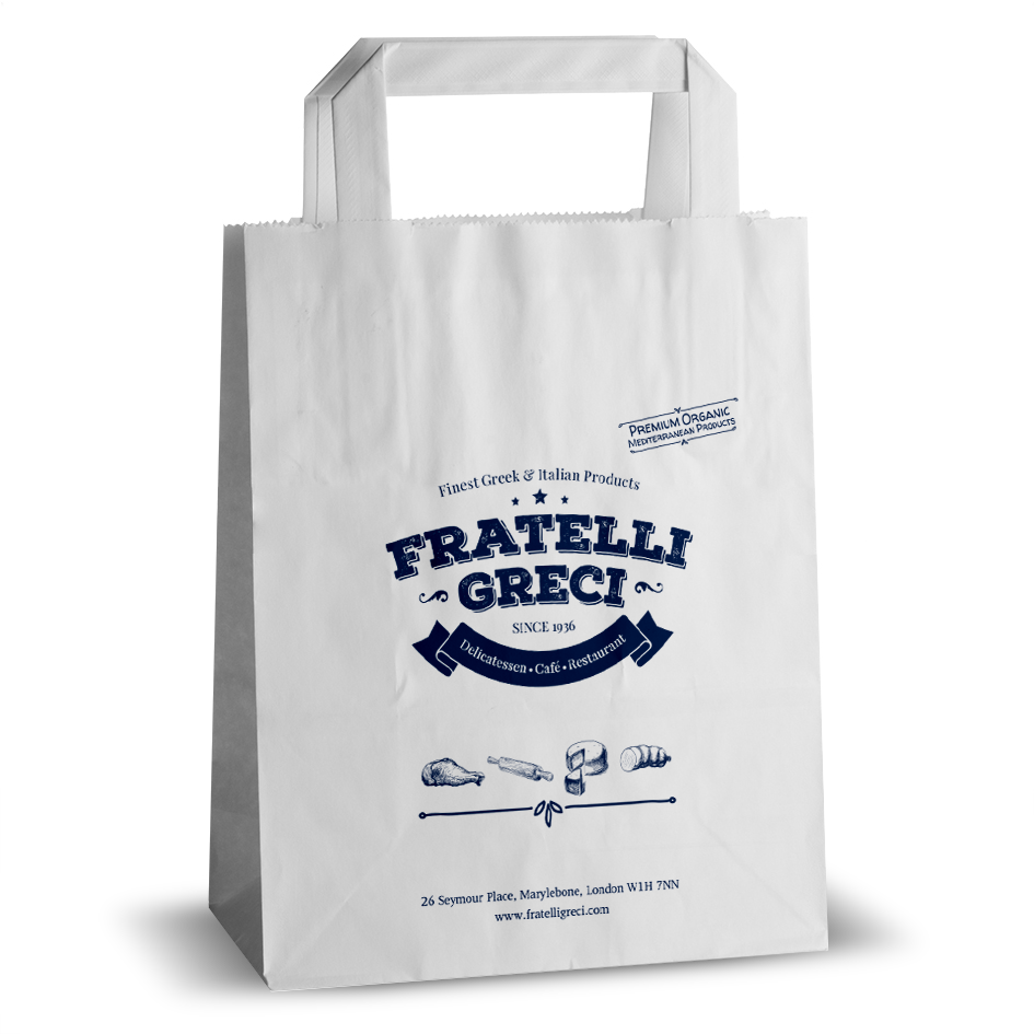 Fratelli Greci printed flat handle paper bag