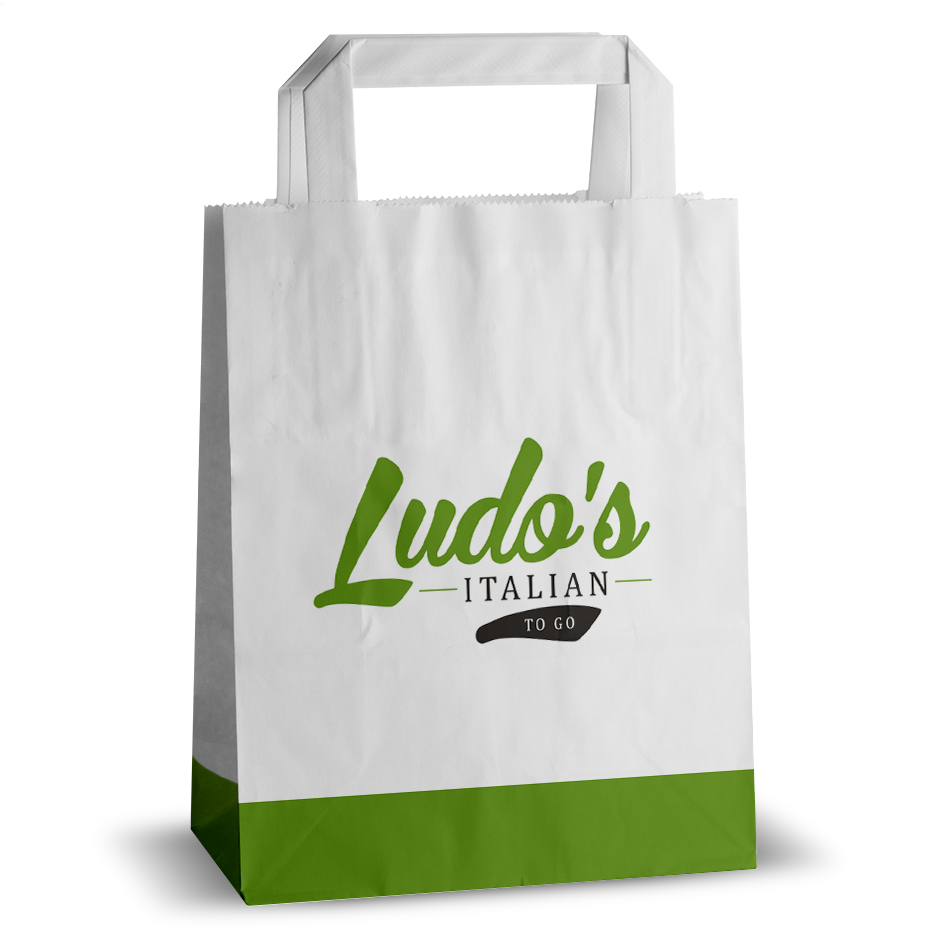 Ludos printed flat handle paper bag