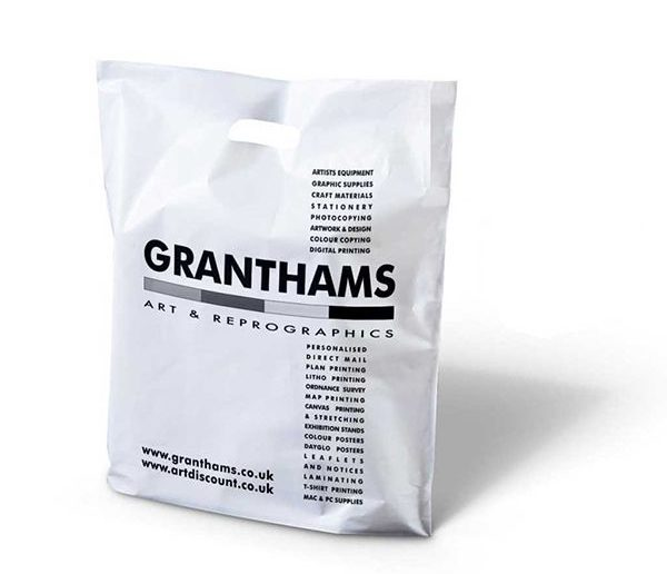 Granthams printed punched handle plastic bag