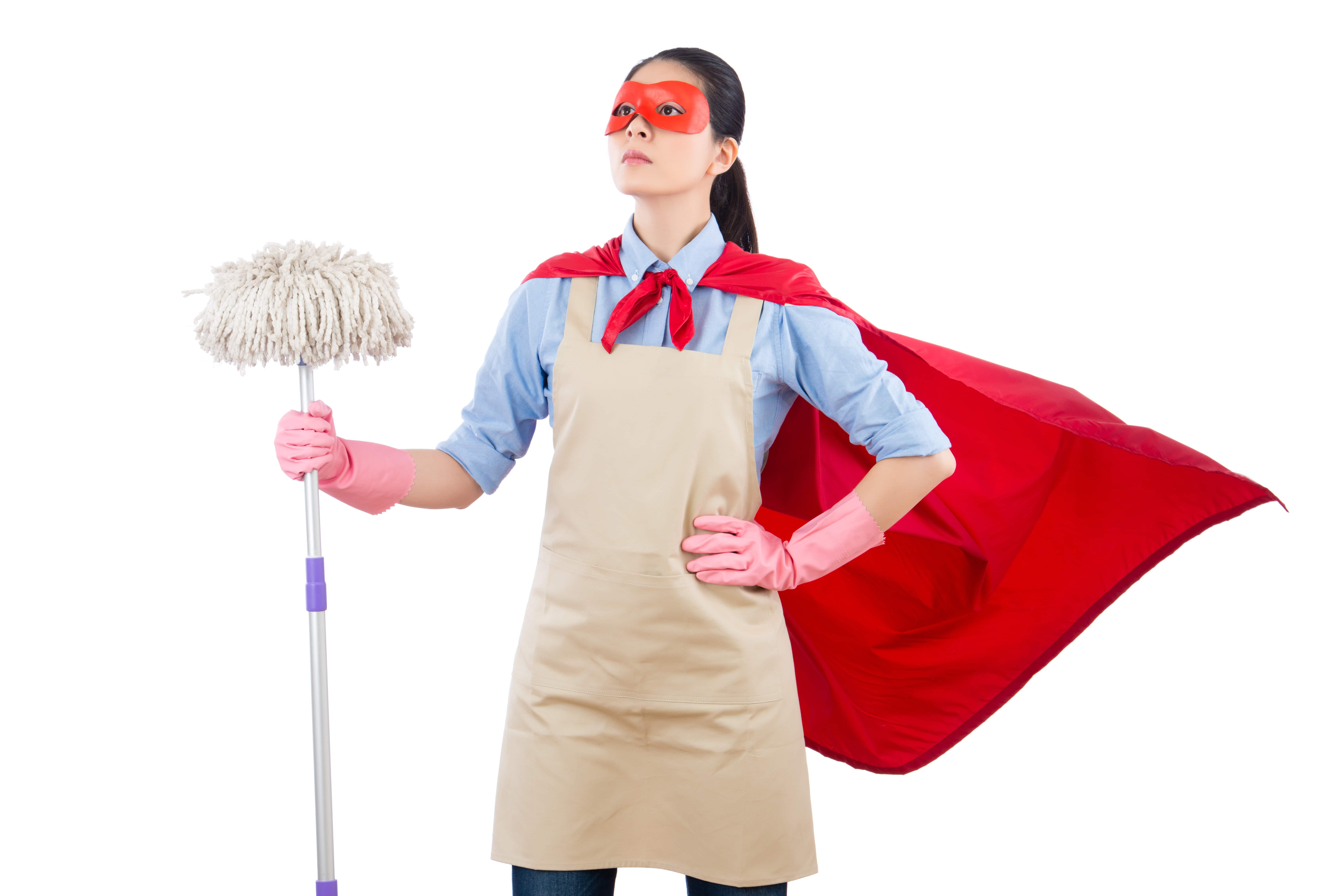 Image of woman in cape holding a mop