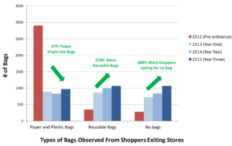 Types of bags observed from shoppers exiting stores