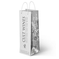 Cult wines white laminated bottle bag