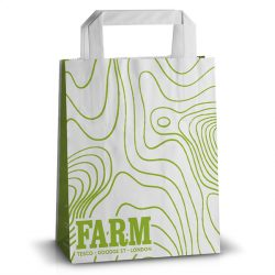 Farm white handle kraft bag