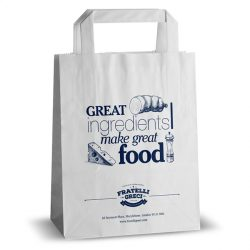 Fratelli greci white flat handle kraft bag