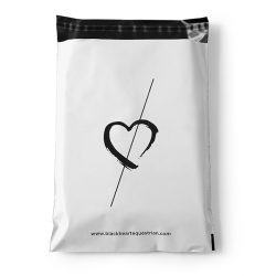 Black heart white and black mail bag