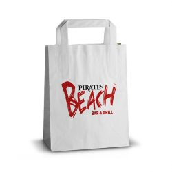 Pirates beach white handle kraft bag