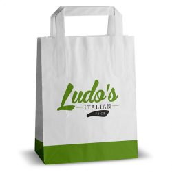 Ludo's Italian to go white flat handle kraft bag