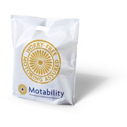 Motability white punched handle bag
