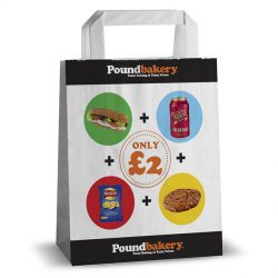 Pound bakery black and white kraft bag for £2 meal