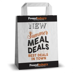 Pound bakery black and white kraft bag for summer meal deals