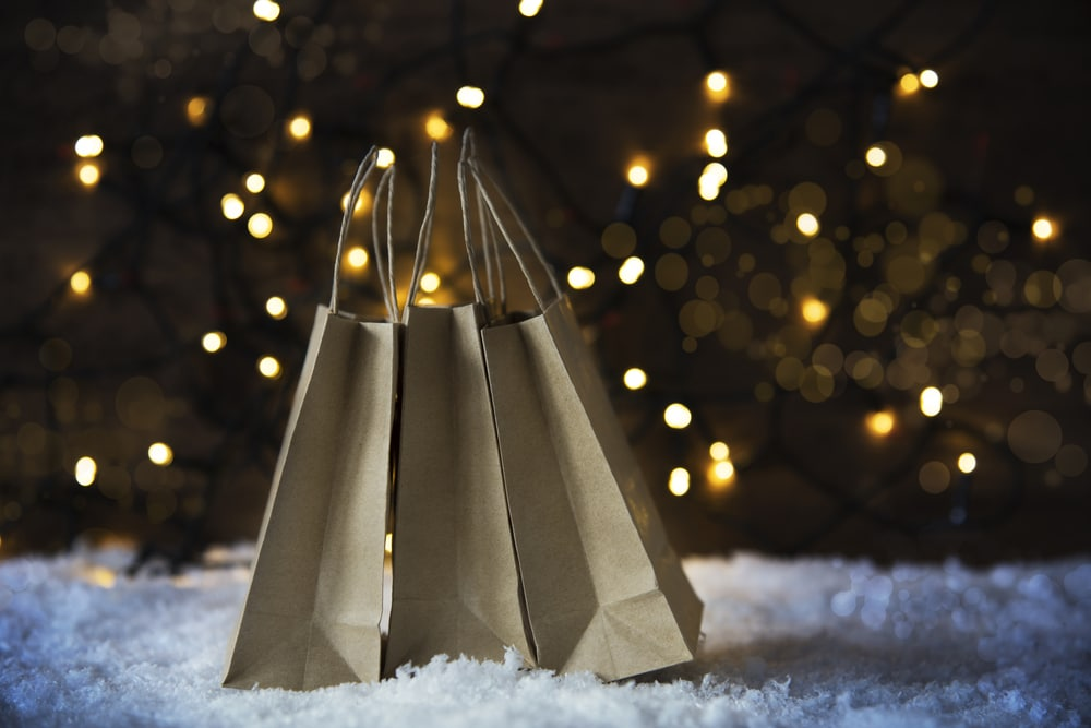 Printed Carrier Bags in Snow for Christmas Promotion