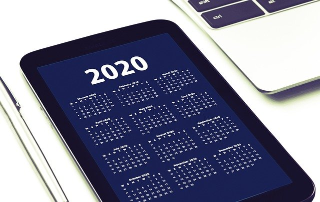2020 Calendar on Tablet